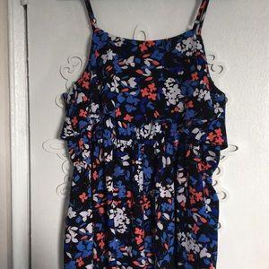 Elle Dresses - Blue floral tank overlay dress